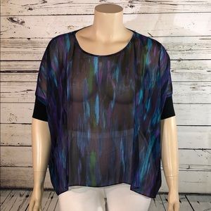 Express NWT Sz. L Watercolor Sheer Cover-Up Blouse